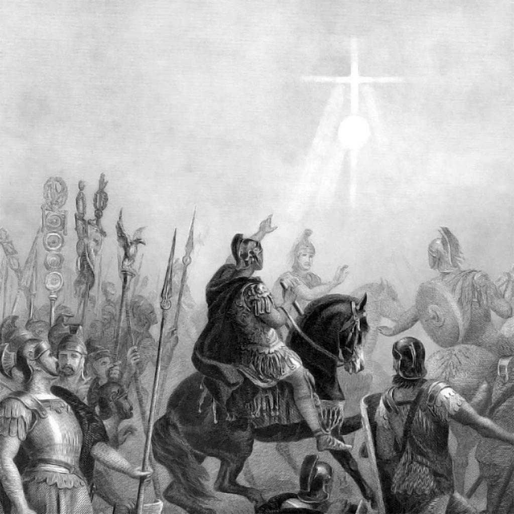 Representación de la famosa visión de Constantino de la cruz