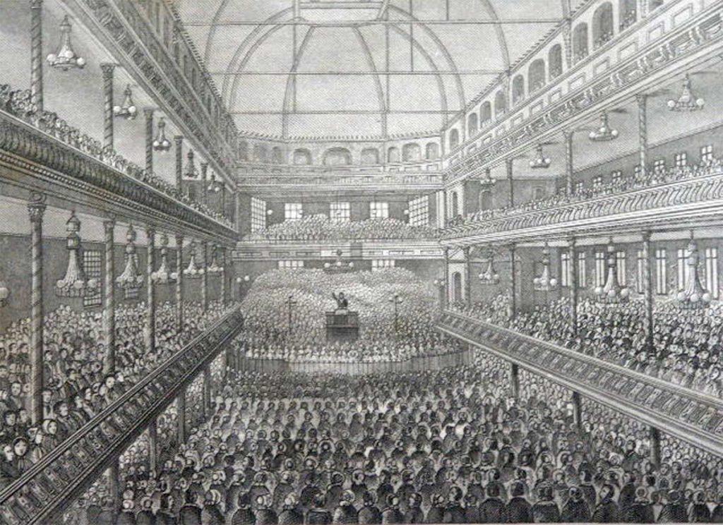 Charles Spurgeon predicando en el Surrey Music Hall hacia 1858